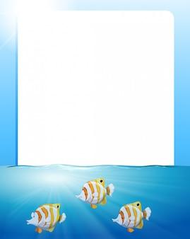 Frontière avec poissons nageant