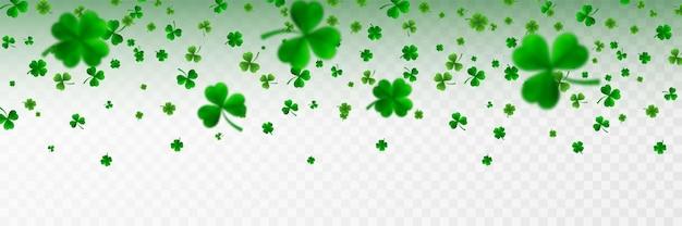Frontière de la saint patrick avec quatre trèfles verts et des trèfles à feuilles d'arbre 3d symboles de chance et de succès irlandais.