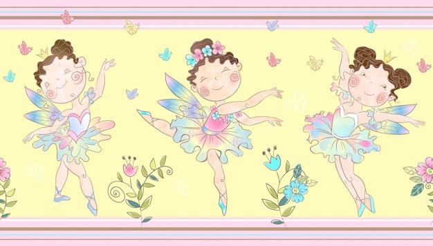 Frontière sans couture avec mignonnes petites fées magiques.