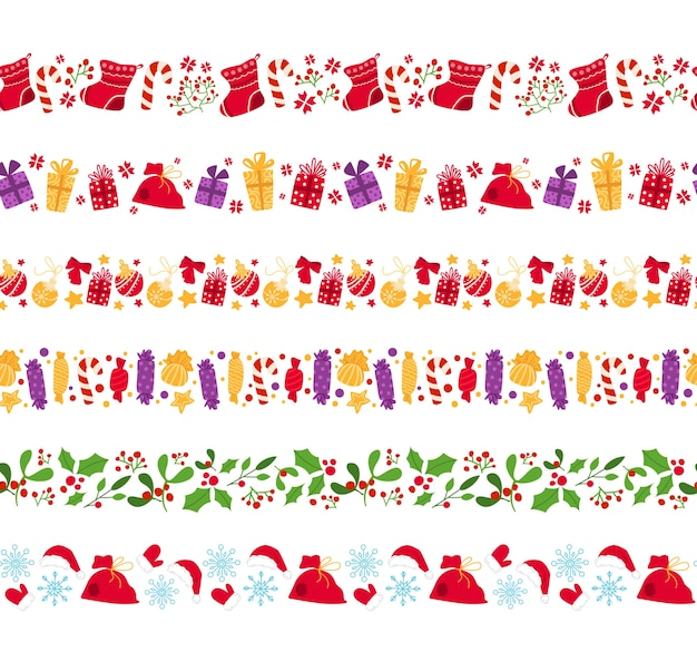 Frontière transparente de noël nouvel an, canne à sucre, houx, bonbons, gui, houx, flocon de neige sur blanc