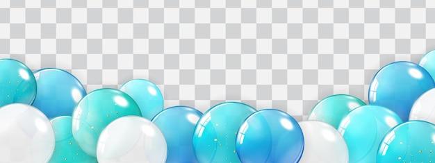 Frontière de vacances avec des ballons isolés sur transparent.