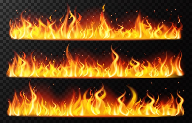 Frontières de flamme réalistes. flamme de feu horizontal brûlant, frontière de feu brûlant rouge, jeu d'illustration de ligne brûlante ardente. feu de feu réaliste, feu de joie flamme inferno