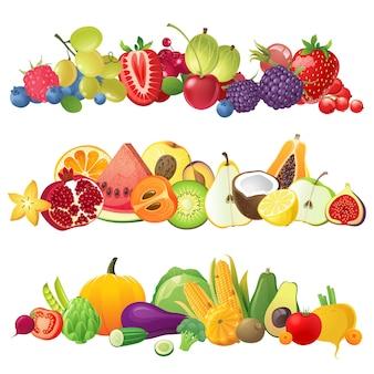 Frontières de fruits légumes et baies
