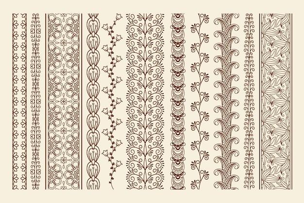 Frontières de griffonnage de tatouage au henné mehndi dessinés à la main