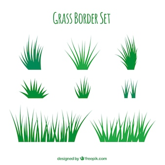 Frontières herbe fantastique avec une variété de modèles