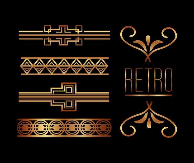 Frontières orner or décoration vintage style rétro