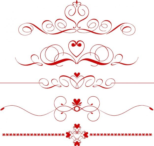 Frontières, séparateurs ou séparateurs romantiques sertis de coeurs en fine ligne