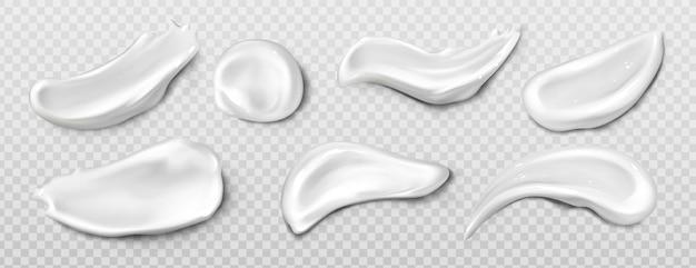 Frottis de crème cosmétique, bavure de dentifrice