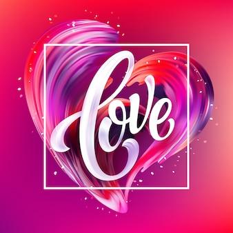 Frottis dessiné à la main rouge de peinture love lettrage
