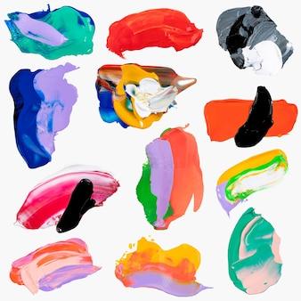 Frottis ensemble de vecteurs de peinture, couleurs mélangées texturées