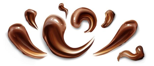 Frottis de ganache liquide marron coups de chocolat