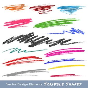 Frottis de gribouillis colorés. dessiné à la main au crayon. vecteur