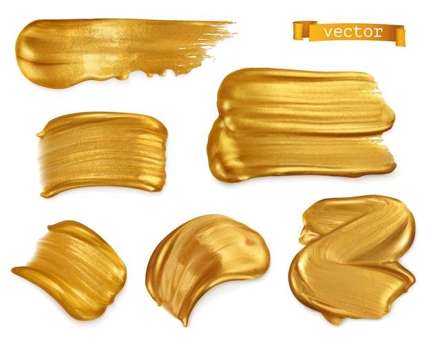 Frottis de peinture or, ensemble réaliste de vecteur 3d