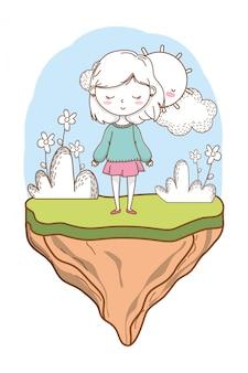 Frowers de nature tenue fille dessin animé élégante tenue