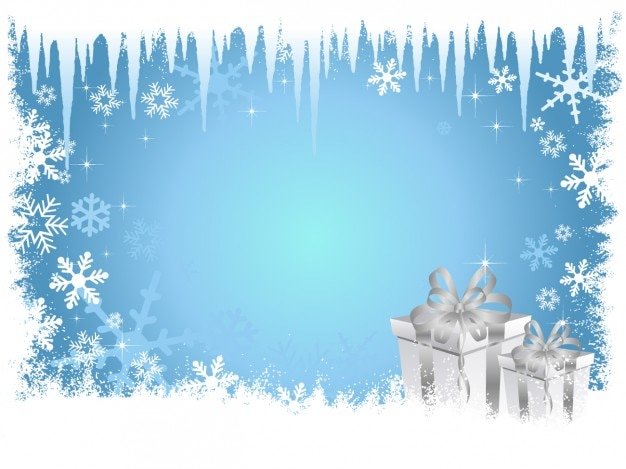 Frozen christmas background bleu