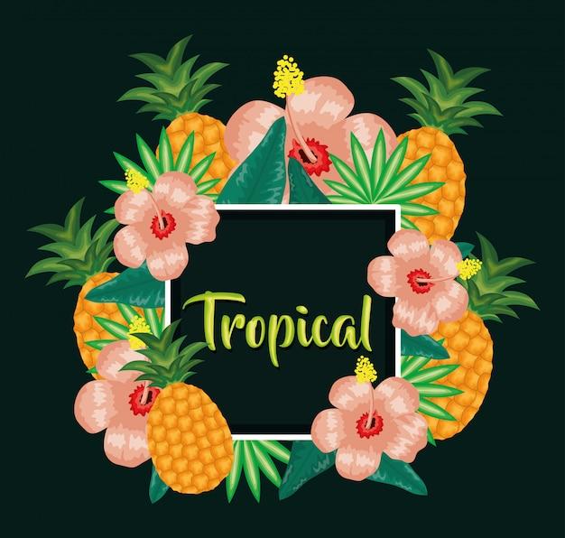 Fruit d'ananas frais avec décoration florale