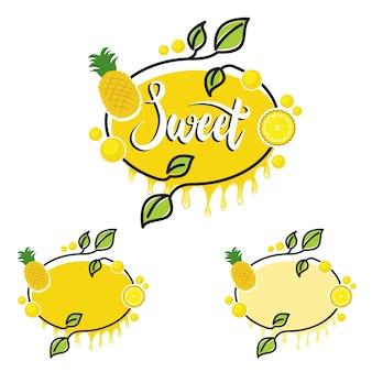 Fruit d'ananas rectangle orange doux