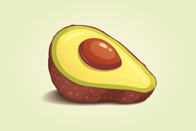 Fruit d'avocat frais réaliste. illustration en style cartoon.