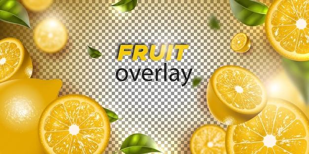 Fruit de citron sur un fond transparent
