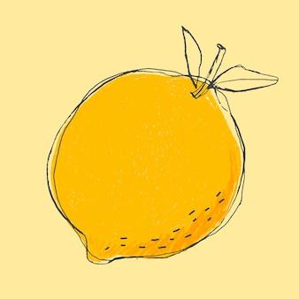 Fruit de citron mignon doodle art