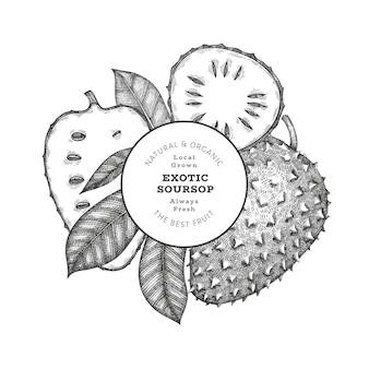 Fruit de corossol de style croquis dessinés à la main