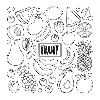 Fruit doodle dessiné à la main