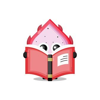 Fruit du dragon lisant une mascotte de personnage mignon de livre