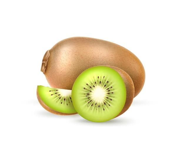Fruit entier exotique juteux, moitié et tranche