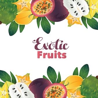 Fruit exotique fruit de la passion carambola soursop carte frontière