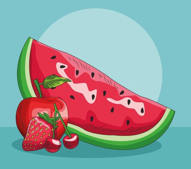 Fruit frais pomme rouge fraise cerise tranche pastèque