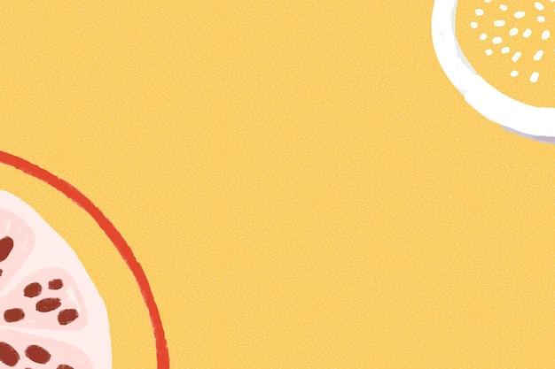 Fruit de grenade sur une ressource de conception de fond jaune