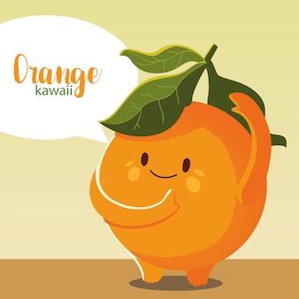 Fruit kawaii visage joyeux dessin animé mignon illustration vectorielle orange