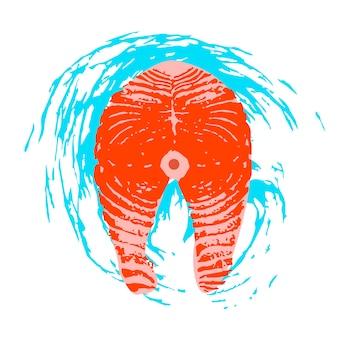 Fruit de mer. steak de saumon. illustration vectorielle sur fond blanc avec vague de texture bleue. illustration avec une texture unique dessinée à la main.