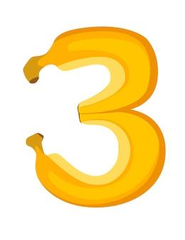 Fruit numéro 3 banane style dessin animé fruit design plat illustration vectorielle