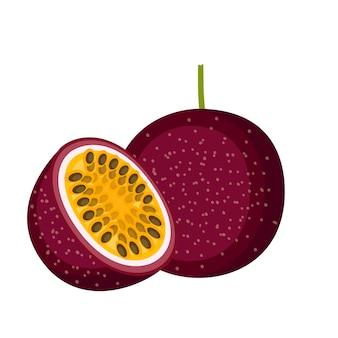 Fruit de la passion, fruit entier et moitié, illustration vectorielle