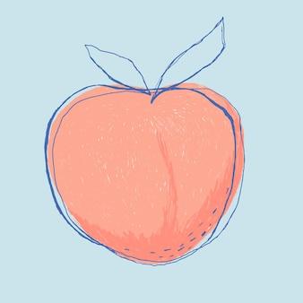Fruit de pêche mignon doodle art