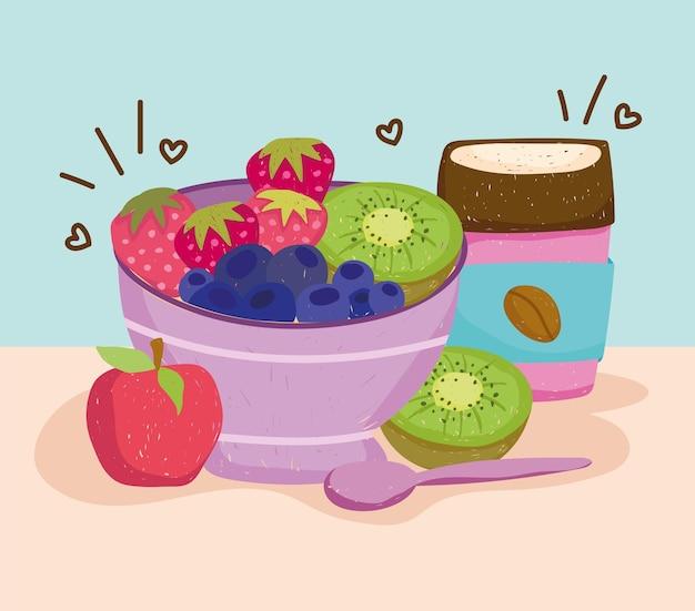 Fruits sur bol et café