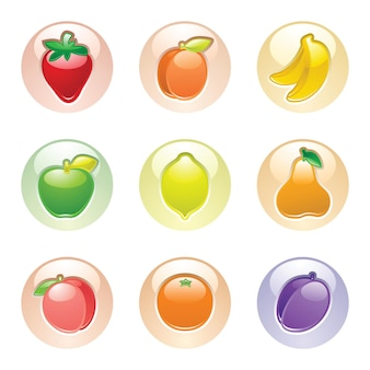 Fruits boutons pomme, prune, abricot, banane, poire, pêche, orange