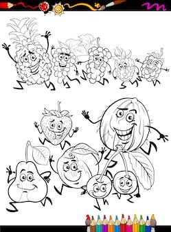 Fruits en cours d'exécution dessin animé page de coloriage