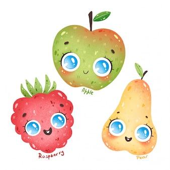 Fruits de dessin animé mignon avec de grands yeux fixés. dessin animé pomme, poire, framboise avec des noms