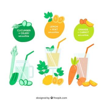 Fruits dessinés à la main et jus de légumes