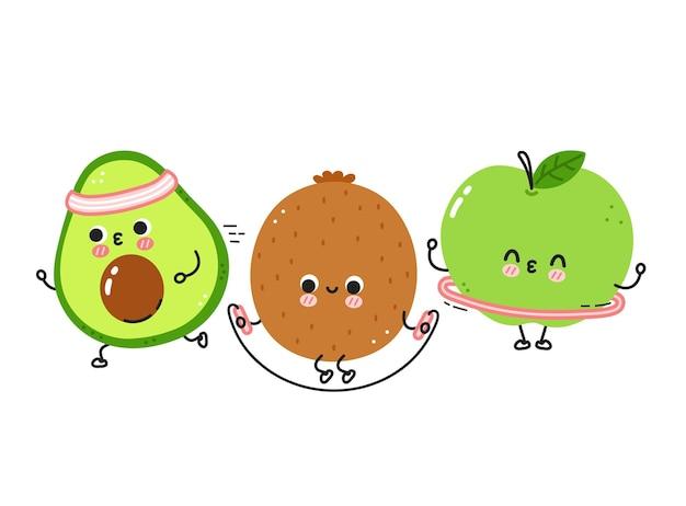 Des fruits drôles mignons font une collection de jeux de gym