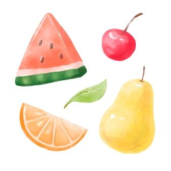 Fruits d'été peints à la main à l'aquarelle