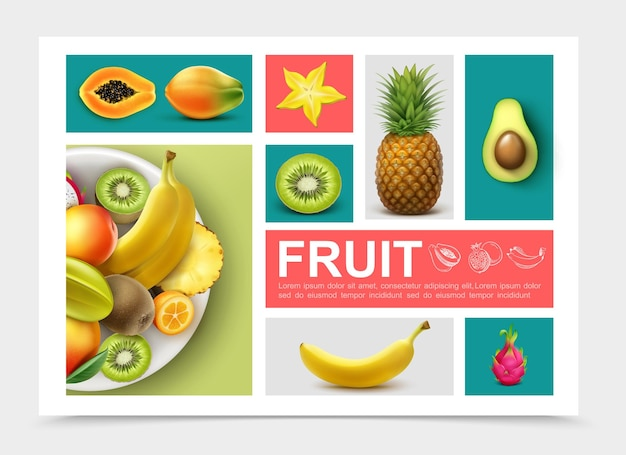 Fruits exotiques réalistes sertis d'ananas kiwi avocat banane papaye kumquat mangue carambole dragonfruit isolé
