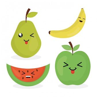 Fruits frais caractères kawaii