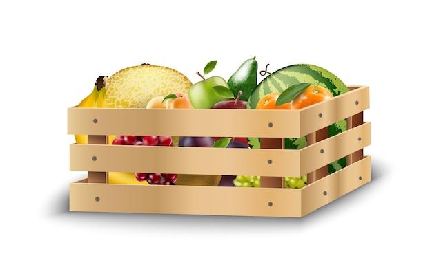 Fruits frais dans des caisses en bois sur un fond blanc