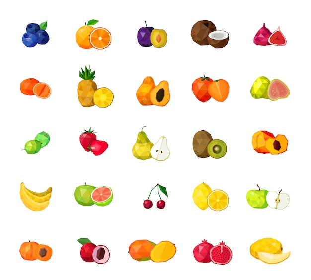 Fruits frais grand ensemble d'icônes polygonales