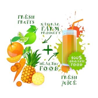 Fruits frais, jus de fruits en bonne santé logo avec des aliments naturels concept de produits de la ferme