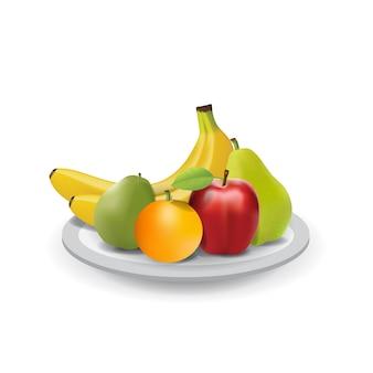 Fruits frais naturels réalistes sur la plaque d'été isolé vector illustration 02
