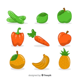 Fruits et fruits dessinés à la main